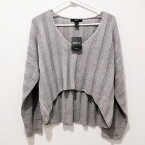 Forever 21 Sweaters - Grey Knit Crop Sweater S